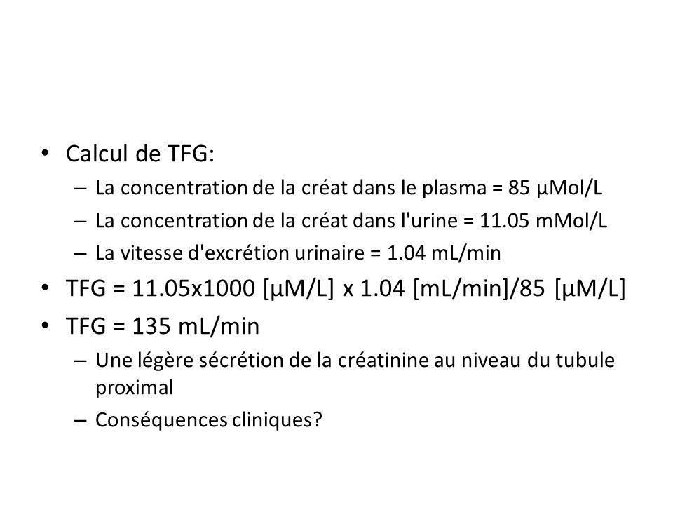 TFG = 11.05x1000 [µM/L] x 1.04 [mL/min]/85 [µM/L] TFG = 135 mL/min